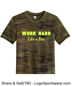 Work Hard Like a Bee (Glitter) Adult Camo S/S T-Shirt Design Zoom
