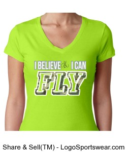 I Believe I Can Fly Ladies S/S V-Neck T-Shirt Design Zoom